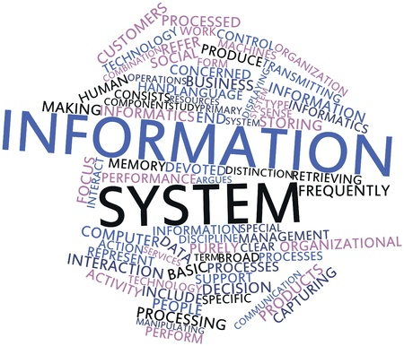 Abstract word cloud for Information system with related tags and terms Stock Photo - 16579910