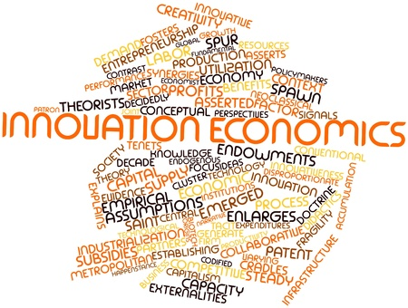 spawn: Abstract word cloud for Innovation economics with related tags and terms Stock Photo