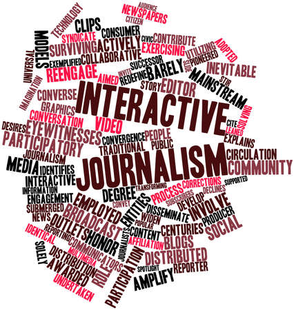 undertaken: Abstract word cloud for Interactive journalism with related tags and terms