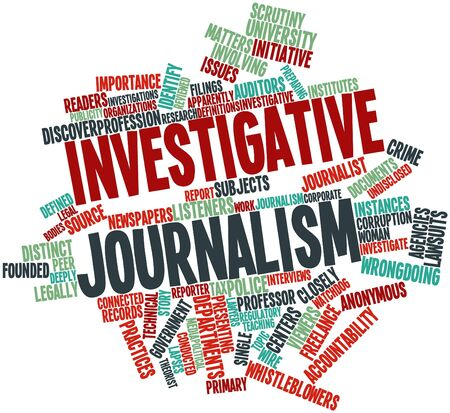 scrutiny: Abstract word cloud for Investigative journalism with related tags and terms Stock Photo