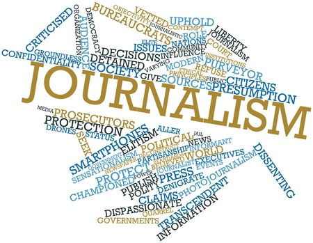 informant: Abstract word cloud for Journalism with related tags and terms Stock Photo
