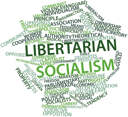 nonviolent: Abstract word cloud for Libertarian socialism with related tags and terms