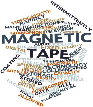 videocassette: Nube palabra abstracta para cinta magnética con etiquetas y términos relacionados Foto de archivo