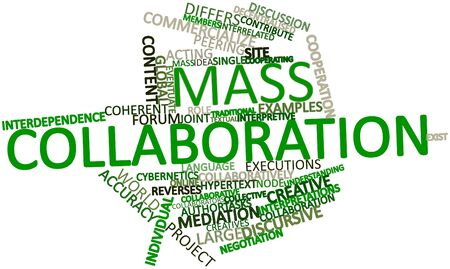 implicit: Abstract word cloud for Mass collaboration with related tags and terms