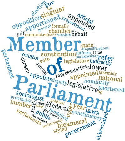democracies: Abstract word cloud for Member of Parliament with related tags and terms