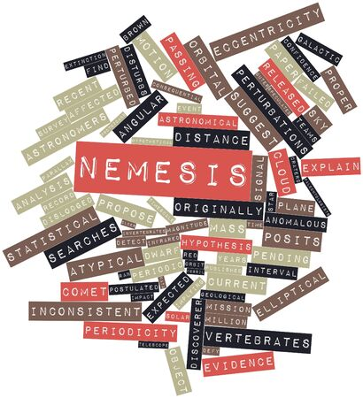 searches: Abstract word cloud for Nemesis with related tags and terms Stock Photo