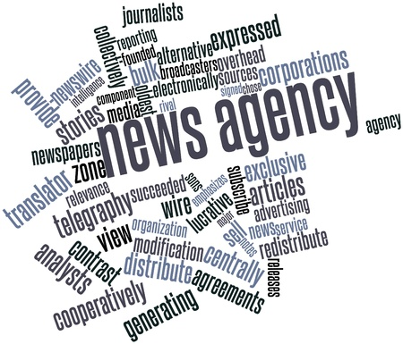 emphasizes: Abstract word cloud for News agency with related tags and terms