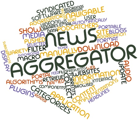 aggregator: Abstract word cloud for News aggregator with related tags and terms Stock Photo