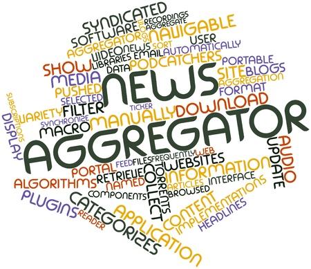 contextual: Nube palabra abstracta para agregador de noticias con las etiquetas y t�rminos relacionados Foto de archivo