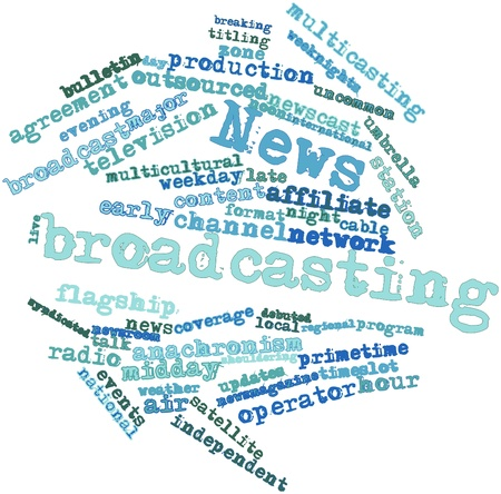 syndicated: Abstract word cloud for News broadcasting with related tags and terms Stock Photo