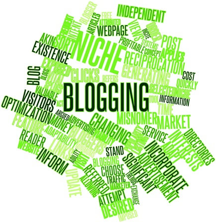 frequent: Abstract word cloud for Niche blogging with related tags and terms