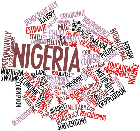 niobium: Abstract word cloud for Nigeria with related tags and terms Stock Photo