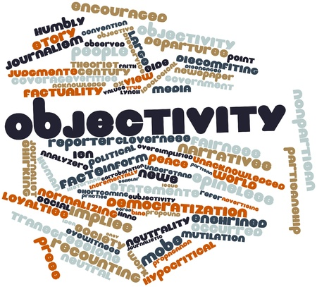 ideological: Abstract word cloud for Objectivity with related tags and terms