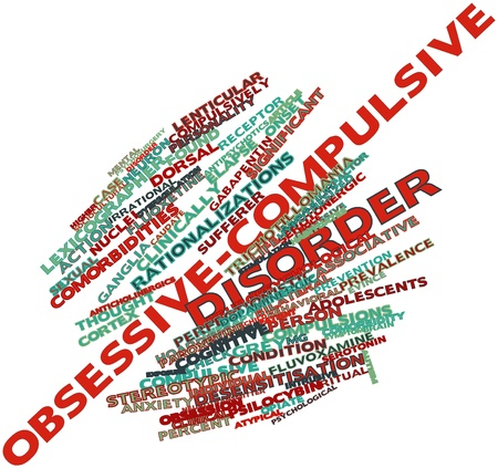 wanorde: Abstract woordwolk voor Obsessieve-compulsieve stoornis met gerelateerde tags en voorwaarden Stockfoto