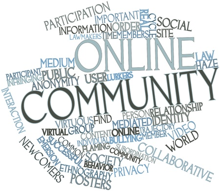Abstract word cloud for Online community with related tags and terms Stock Photo - 16579278