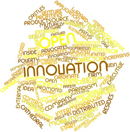 originate: Abstract word cloud for Open innovation with related tags and terms Stock Photo