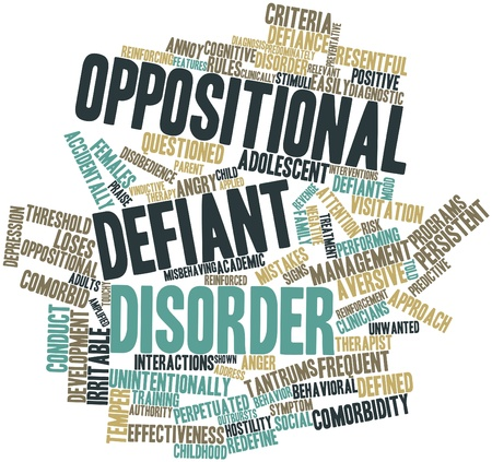 Abstract word cloud for Oppositional defiant disorder with related tags and terms Stock Photo
