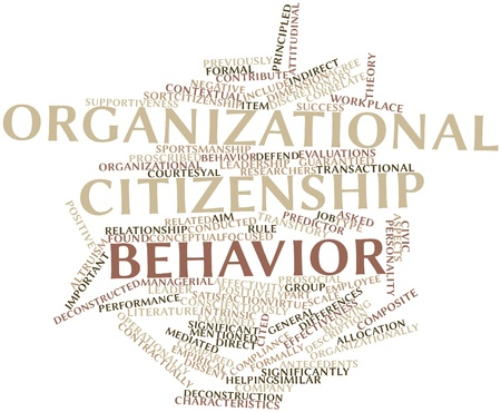 citizenship: Abstract word cloud for Organizational citizenship behavior with related tags and terms Stock Photo
