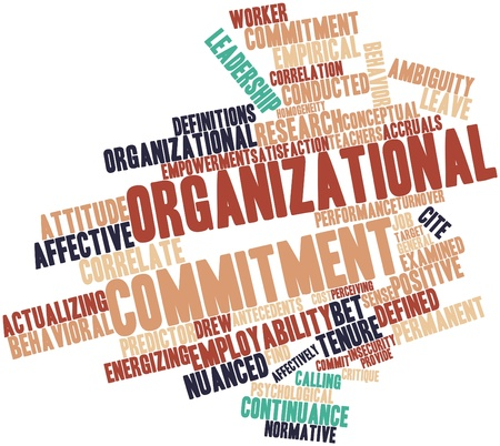 normative: Abstract word cloud for Organizational commitment with related tags and terms Stock Photo