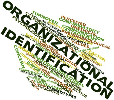 evaluative: Abstract word cloud for Organizational identification with related tags and terms