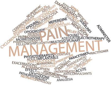 Nuage de mot abstrait pour la gestion de la douleur avec des étiquettes et des termes connexes Banque d'images
