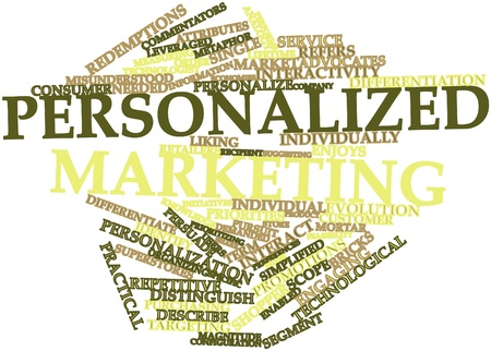 describe: Abstract word cloud for Personalized marketing with related tags and terms