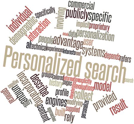 unique characteristics: Abstract word cloud for Personalized search with related tags and terms Stock Photo