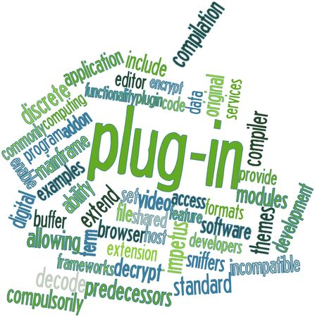 word processors: Abstract word cloud for Plug-in with related tags and terms