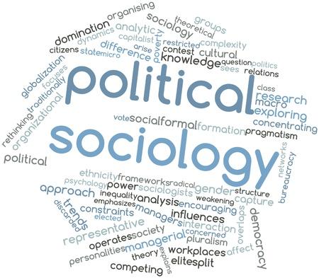 Nube palabra abstracta para la sociología política con las etiquetas y términos relacionados Foto de archivo - 16580183