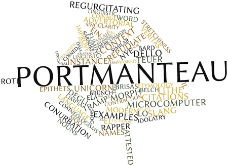 num: Abstract word cloud for Portmanteau with related tags and terms