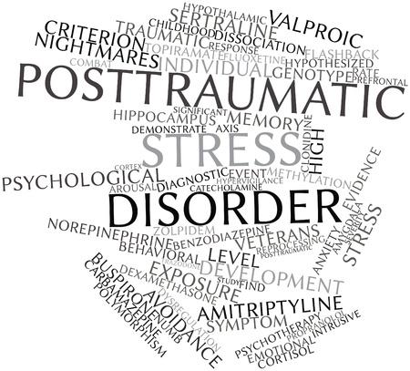 interventie: Abstract woordwolk voor Posttraumatische stress-stoornis met gerelateerde tags en voorwaarden