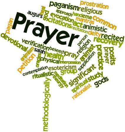 ema: Abstract word cloud for Prayer with related tags and terms Stock Photo