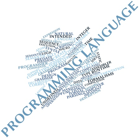 time specification: Abstract word cloud for Programming language with related tags and terms
