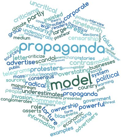 economic theory: Abstract word cloud for Propaganda model with related tags and terms Stock Photo