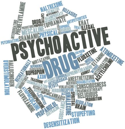 interrogating: Abstract word cloud for Psychoactive drug with related tags and terms
