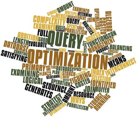 figuring: Abstract word cloud for Query optimization with related tags and terms Stock Photo