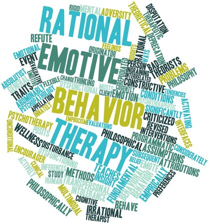 inferences: Abstract word cloud for Rational emotive behavior therapy with related tags and terms Stock Photo