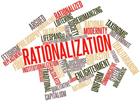 ambivalence: Abstract word cloud for Rationalization with related tags and terms Stock Photo