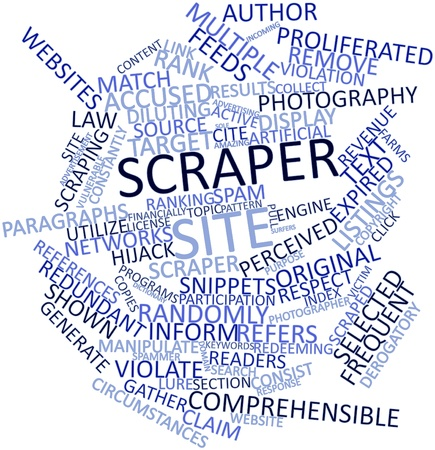 instance: Abstract word cloud for Scraper site with related tags and terms