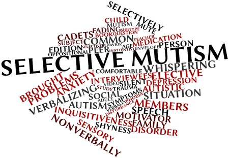 oppositional: Abstract word cloud for Selective mutism with related tags and terms