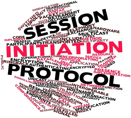 Abstract word cloud for Session Initiation Protocol with related tags and terms photo
