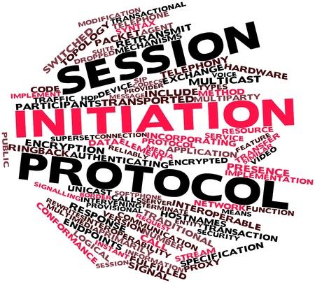 Nube palabra abstracta para Session Initiation Protocol con etiquetas y términos relacionados Foto de archivo