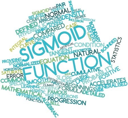 sigmoid: Abstract word cloud for Sigmoid function with related tags and terms Stock Photo