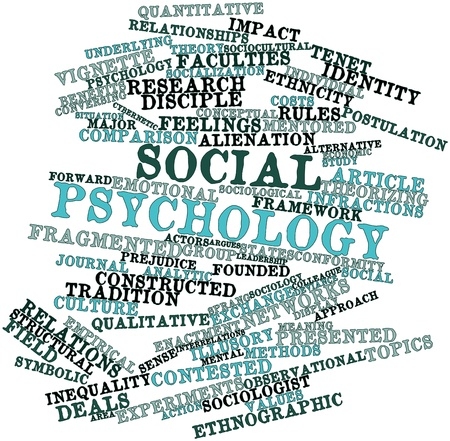 infractions: Abstract word cloud for Social psychology with related tags and terms Stock Photo