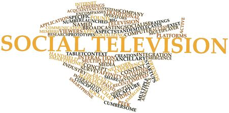 named person: Abstract word cloud for Social television with related tags and terms Stock Photo