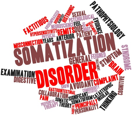 caregivers: Abstract word cloud for Somatization disorder with related tags and terms Stock Photo