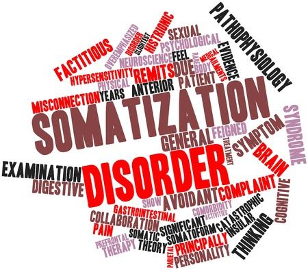 desorden: Nube palabra abstracta para el trastorno de somatización con etiquetas y términos relacionados