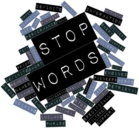 credited: Abstract word cloud for Stop words with related tags and terms Stock Photo