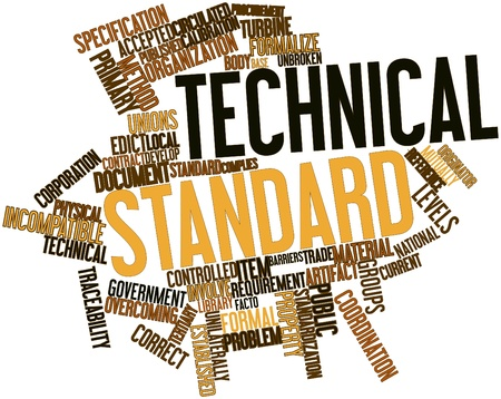 alkalmasság: Absztrakt szó felhő a műszaki színvonal kapcsolódó címkék és kifejezések Stock fotó