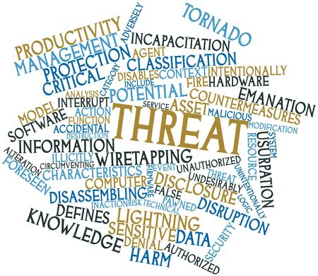 breach: Abstract word cloud for Threat with related tags and terms